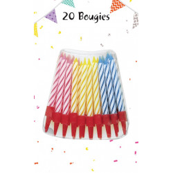 Bougies anniversaire + supports (x20)